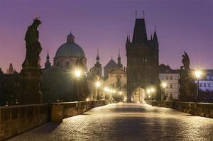 Charles Bridge and Old Town Bridge Tower in Prague, Central Bohemia, Czech Republic