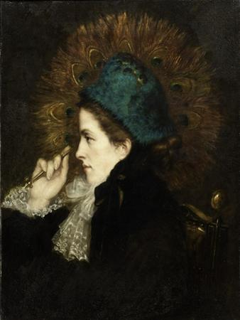 Lady with Peacock Fan, 1882 by Charles C. Burleigh