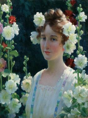 Among the Hollyhocks, 1904 by Charles Courtney Curran