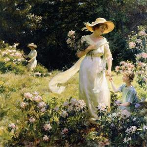 Among the Laurel Blossoms, 1914 by Charles Courtney Curran
