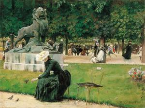 In the Luxembourg, 1889 by Charles Courtney Curran