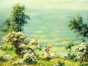 Pink Parasol, 1927 by Charles Courtney Curran
