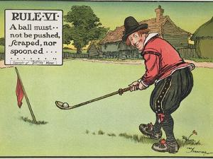"""Rule Vi: a Ball Must Not be Pushed, Scraped Nor Spooned, from """"Rules of Golf,"""" Published circa 1905 by Charles Crombie"""