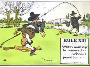 """Rule XIII: Worm Casts May be Removed...Without Penalty..., from """"Rules of Golf,"""" Published c. 1905 by Charles Crombie"""