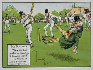 The Boundary, Illustration from Laws of Cricket, Published 1910 by Charles Crombie