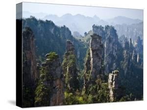 Forested Sandstone Pinnacles, Zhangjiajie National Forest Park, Hunnan, China by Charles Crust
