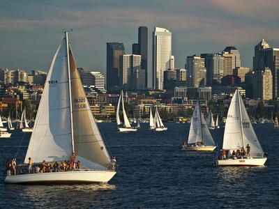 Sailboats Race on Lake Union under City Skyline, Seattle, Washington, Usa