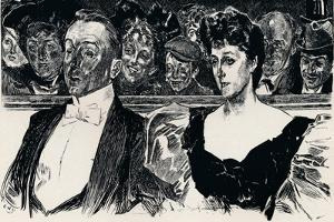 At the Theatre, C1876-1898, (1898) by Charles Dana Gibson