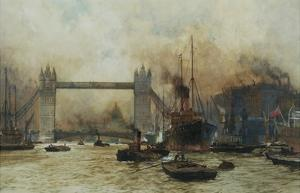 Shipping by Tower Bridge, London, England by Charles Dixon