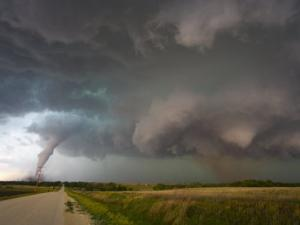 Two Tornadoes Near Zurich, Kansas by Charles Doswell