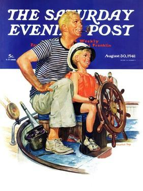 """Father Teaching Son to Sail,"" Saturday Evening Post Cover, August 30, 1941 by Charles Dye"