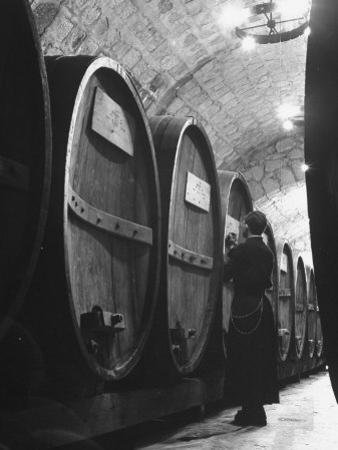 Jesuit Novitiate Winery, Oak Casks of Wine in Underground Tunnel of Winery by Charles E. Steinheimer