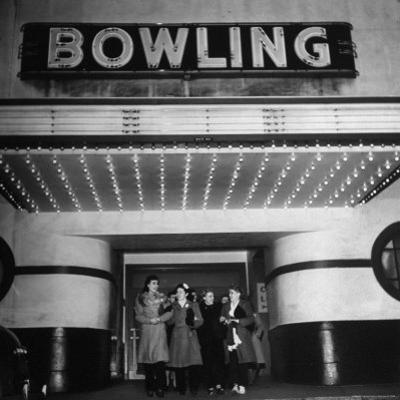 Members of a Women's Bowling League Exiting the Bowling Alley by Charles E. Steinheimer