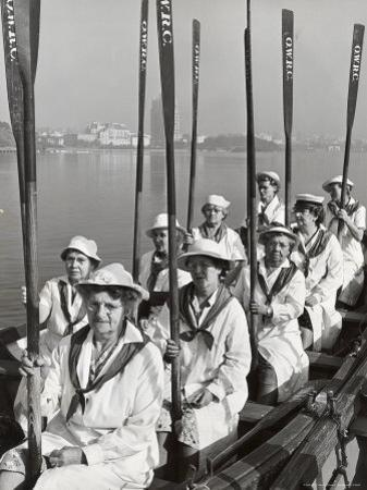 Oakland Women's Rowing Club Comprised of 10 Grandmothers at Lake Merritt Boathouse for Practice by Charles E. Steinheimer