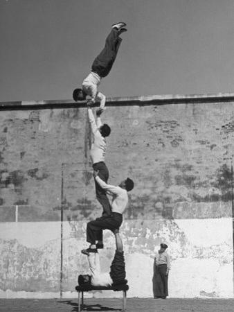 Prisoners Doing Gymnastics at San Quentin Prison by Charles E. Steinheimer