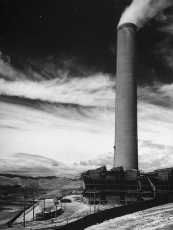 View of a Smoke Stack and Reclamation Buildings at the Very Top of the Hill by Charles E. Steinheimer