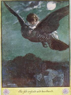 Flight on the Bird, Illustration from 'The Cuckoo Clock' by Mrs Molesworth, by Charles Edmund Brock