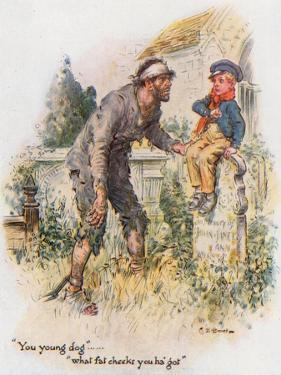 Great Expectations, Pip Encounters the Convict in the Churchyard by Charles Edmund Brock