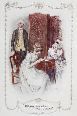 """Well Jane, Who Is It From ?. What Is It About ?"""".Illustration To 'Pride and Prejudice' by Charles Edmund Brock"""