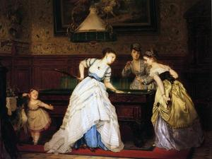 Ladies Playing Billiard, 1869 by Charles Edouard Boutibonne