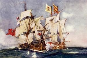 "Anson's ""Centurion"" Taking the Spanish Galleon ""Nuestra Senora De Cabadonga,"" 1743 by Charles Edward Dixon"