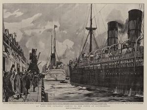 At Last, the Aurania Coming to Her Berth at Southampton by Charles Edward Dixon