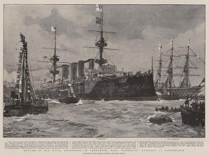 Return of the Naval Defenders of Ladysmith, HMS Powerful Arriving at Portsmouth by Charles Edward Dixon