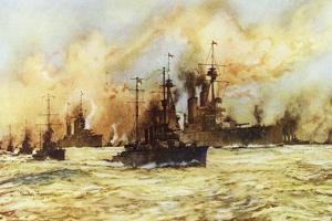 The Battlecruiser Indomitable Towing the Wounded Battlecruiser Lion after the Battle of Dogger Bank by Charles Edward Dixon