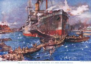 The Landing of Troops from the 'River Clyde' at V Beach, Gallipoli Peninsula, Illustration from… by Charles Edward Dixon