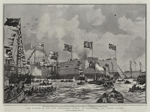 The Launch of the New Battleship Queen at Devonport, the Vessel Afloat by Charles Edward Dixon