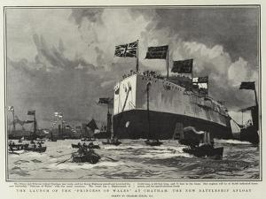 The Launch of the Princess of Wales, at Chatham, the New Battleship Afloat by Charles Edward Dixon