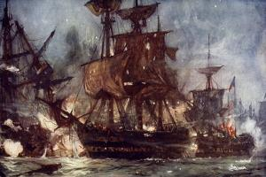 """The """"Majestic"""" at the Battle of the Nile, 1798 by Charles Edward Dixon"""