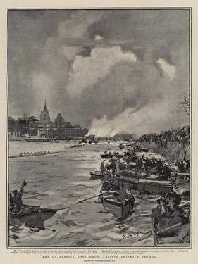 The University Boat Race, Passing Chiswick Church by Charles Edward Dixon