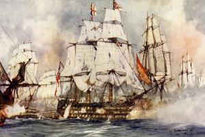"The ""Victory"" at Trafalgar. Nelson's Flagship Nearing the ""Santissima Trinidad"" by Charles Edward Dixon"