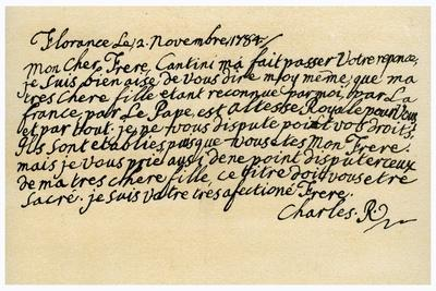 Letter from Charles Edward Stuart to His Brother Henry Benedict, 2nd November 1784