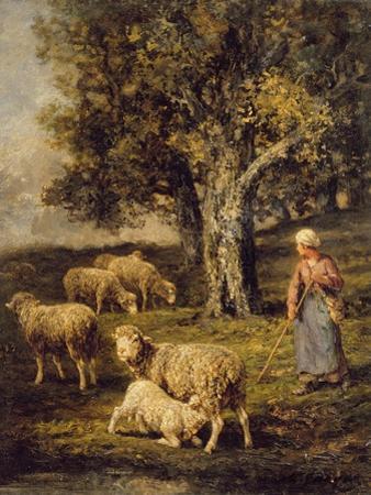 A Shepherdess and Sheep in a Barbizon Landscape