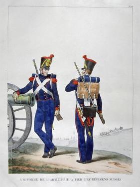 Uniforms of a Swiss Artillery Regiment, 1823 by Charles Etienne Pierre Motte