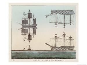 Diagram Explaining Atmospheric Refraction Using Pictures of Ships at Sea to Illustrate the Concept by Charles F. Bunt