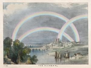 Three Rainbows Over a River with a Bridge in the Background and Ships in the Foreground by Charles F. Bunt