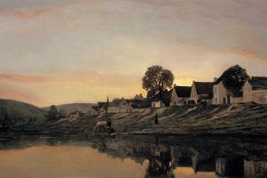 A Village Near Bonnieres, 1861 by Charles Francois Daubigny
