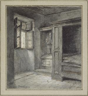 Interior of a Bedroom with a Sanctuary on the Left (Graphite with Pen and Brown Ink on White Paper by Charles Francois Daubigny