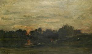 Landscape: Sunset by Charles Francois Daubigny