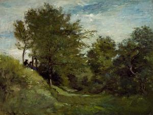 Landscape with Figures Seated on a Bank, Late 1870S by Charles Francois Daubigny