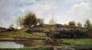 The Lock at Optevoz, 1855 by Charles-Francois Daubigny