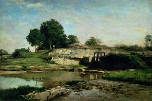 The Lock at Optevoz, 1859 by Charles-Francois Daubigny