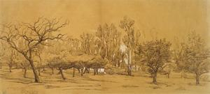 View of an Orchard at Saint-Denis (Pen and Black Ink by Charles Francois Daubigny