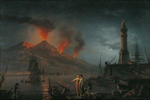 Eruption of Vesuvius by Charles Francois Lacroix De Marseille, 18th C. by Charles Francois Lacroix de Marseille