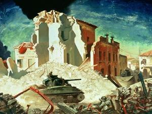 Canadian Armour Passing Through Ortona, 1944 by Charles Fraser Comfort