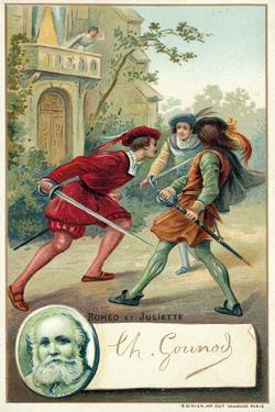 Charles Gounod, French Composer, and a Scene from His Opera Romeo Et Juliette