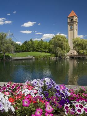 Clock Tower, Spokane River, Riverfront Park, Spokane, Washington, USA by Charles Gurche